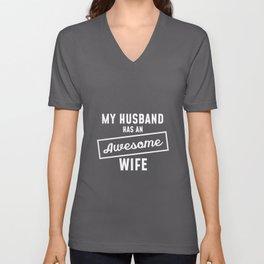 Marriage Wife Husband Wife Wedding JGA Unisex V-Neck
