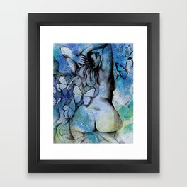 Sugar Coated Sour (nude curvy pin up with butterflies) Framed Art Print