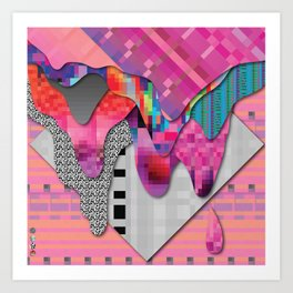 drippy pink Art Print