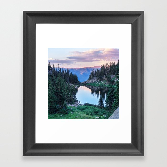 Hikers Bliss Perfect Scenic Nature View \ Mountain Lake Sunset Beautiful Backpacking Landscape Photo Gerahmter Kunstdruck