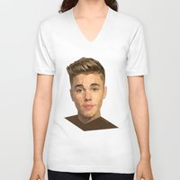 justin timberlake V-neck T-shirts featuring Justin by Maxx Hendriks