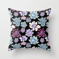 succulents Throw Pillows featuring Succulents by Miranda Montes