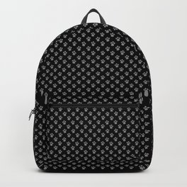 Tiny Paw Prints Grey on Black Pattern Backpack
