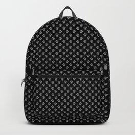 Tiny Paw Prints Grey on Black Pattern Backpack