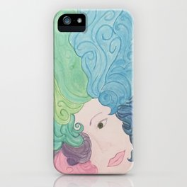 Higher Self Curly Rainbow Hair iPhone Case