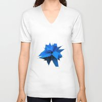 polygon V-neck T-shirts featuring Blue Polygon by error23