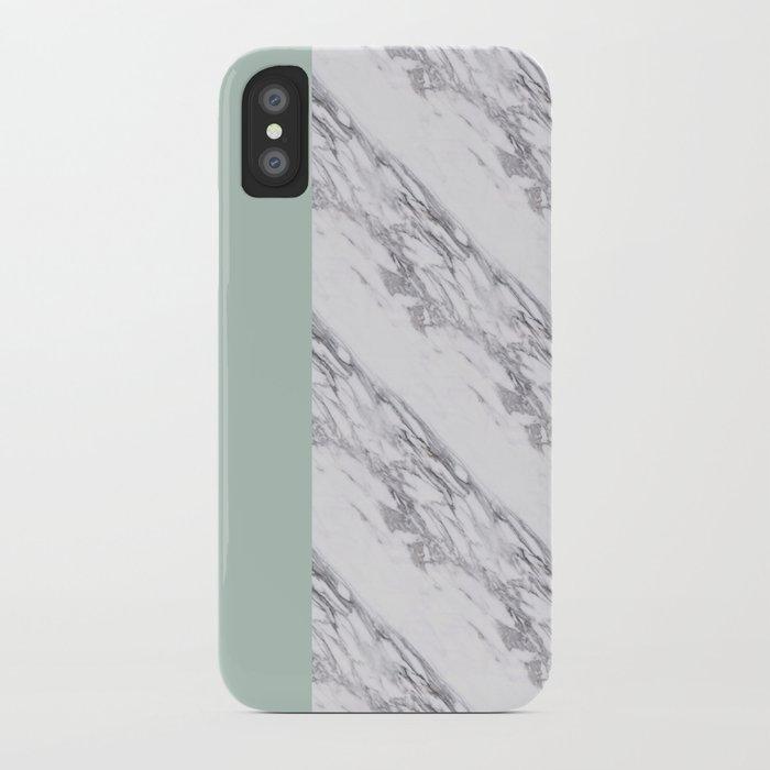 Light Green & Marble Vertical Design | Digital Design | Pattern iPhone Case