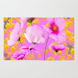 YELLOW COSMO FLOWERS  PURPLE ART  PATTERNS Rug