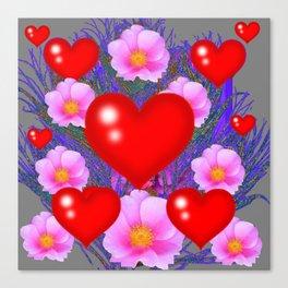 Red Hearts & Pink Wild Rose Valentine Purple Art Canvas Print