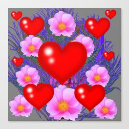 Red Hearts & Pink Wild Rose Valentine Purple Art Canvas Print