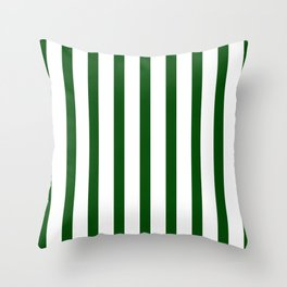 Dark Green Vertical Stripes Design Throw Pillow