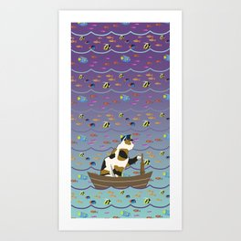 Captain Cat in purple fade Art Print