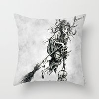 witch Throw Pillows featuring Witch by Elias Aquino
