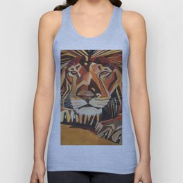 Lion Vector In Cubist Style Unisex Tank Top