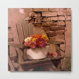 Nancy's Zinnias Metal Print