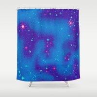 8bit Shower Curtains featuring Indigo Nebula (8bit) by Sarajea