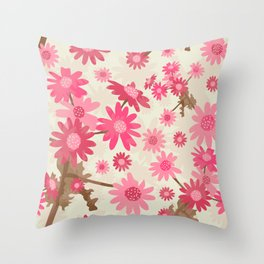 Pink Camomiles Pattern Throw Pillow