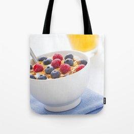 Healthy breakfast with muesli, fresh fruit, orange juice and coffee Tote Bag