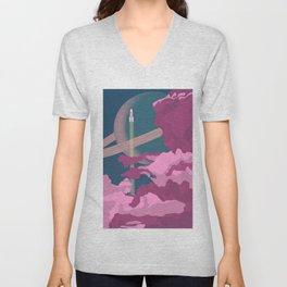 Rocket in Pink Clouds Unisex V-Neck