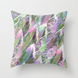 Feather Fancy — Soft Greens • Pinks • Voilets Throw Pillow