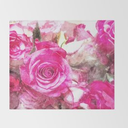 Bunch of Pink roses (watercolour) Throw Blanket