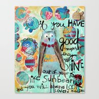 roald dahl Canvas Prints featuring Whimsical owl print, Roald Dahl quote by sunshine girl designs
