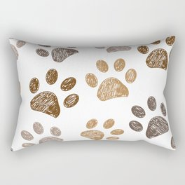 Brown colored paw print background Rectangular Pillow
