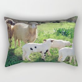 Two Ewes and Three Lambs Grazing Rectangular Pillow