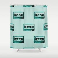 cassette Shower Curtains featuring cassette by Ginger Pigg Art & Design