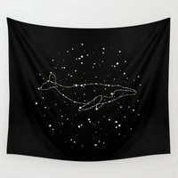 constellation Wall Tapestries featuring Whale Constellation  by Terry Fan