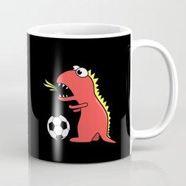 Black Cartoon Dinosaur Soccer Coffee Mug