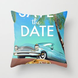Save the Date Vintage Car Throw Pillow