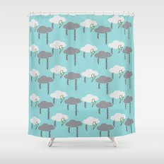Happy Rain and Lightning - Comic Book Pencil Drawing - Blue, White, Grey, Yellow Shower Curtain