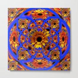 GOLD SUNFLOWERS & ROYAL BLUE PATTERN ART Metal Print