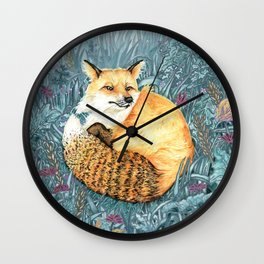 Red Fox Painting in Forest / Mixed Media Watercolor Painting Wall Clock