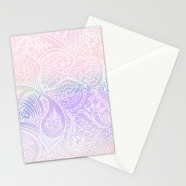Hand painted white blush pink lavender watercolor floral Stationery Cards