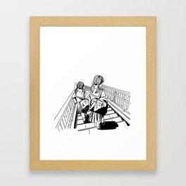 Japanese School Girls  Framed Art Print