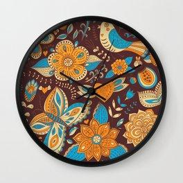 Floral Khokhloma pattern Wall Clock