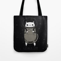soviet Tote Bags featuring space cat by Louis Roskosch