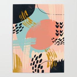 Brushstrokes abstract art Poster