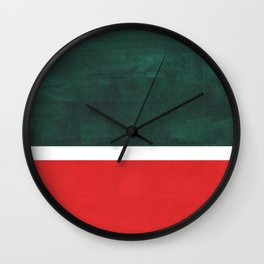 Phthalo Green Red Minimalist Abstract Colorful Minimalist Color Field Color Block Pattern Wall Clock