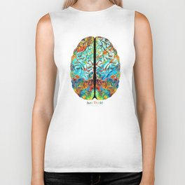 Colorful Brain Art - Just Think - By Sharon Cummings Biker Tank