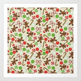 Gingerbread Men & Candy Art Print