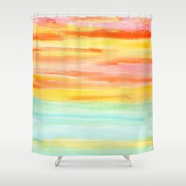 Summer Sunset Abstract Painting Stripes Pattern Modern - Be Yourself And Fall In Love Shower Curtain