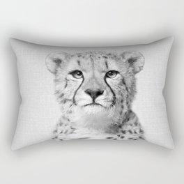 Cheetah - Black & White Rectangular Pillow