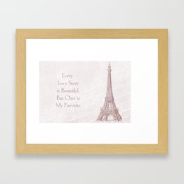 Eiffel Tower Love Quote Framed Art Print