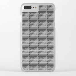 Modern Simple Geometric 3 in Charcoal Grey Clear iPhone Case