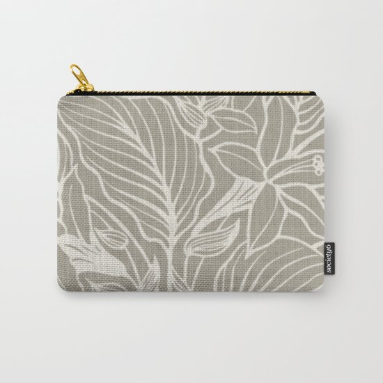 Gray Grey Alabaster Floral Carry-All Pouch