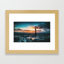 Beacons: Towers crowned by Flames on a Sunrise Beach Framed Art Print