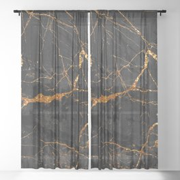 Black Malachite Marble With Gold Veins Sheer Curtain